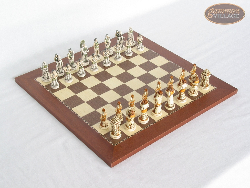 The Wild West Chessmen with Spanish Traditional Chess Board [Small]