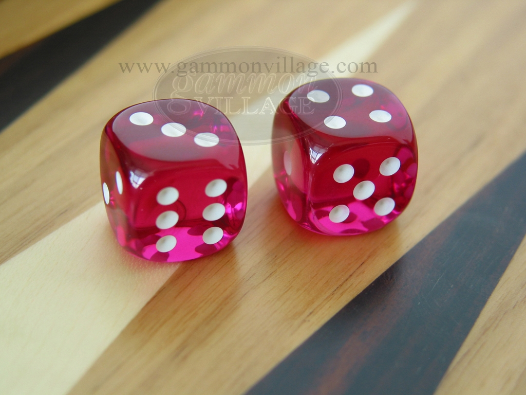 3/8 in. Rounded High Gloss Lucent Dice - Magenta (1 pair)