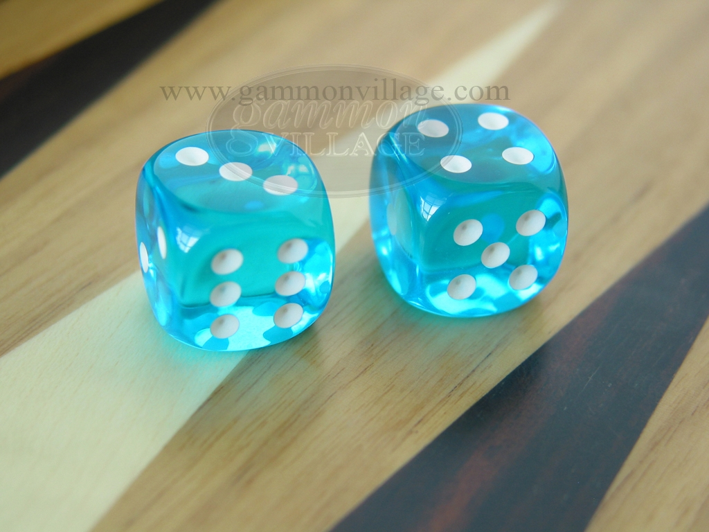 1/2 in. Rounded High Gloss Lucent Dice - Turquoise (1 pair)