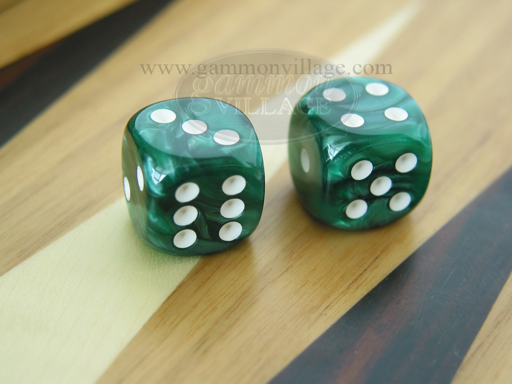1/2 in. Rounded High Gloss Flecked Dice - Green (1 pair)