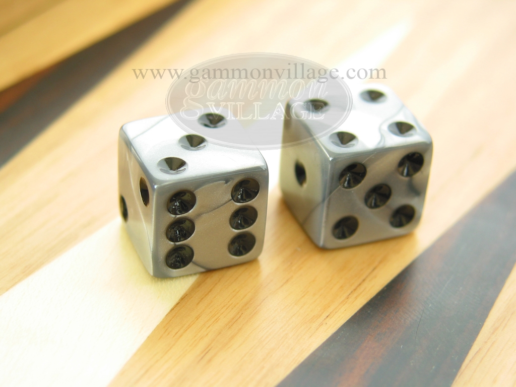 1/2 in. Square High Gloss Swoosh Dice - Silver (1 pair)