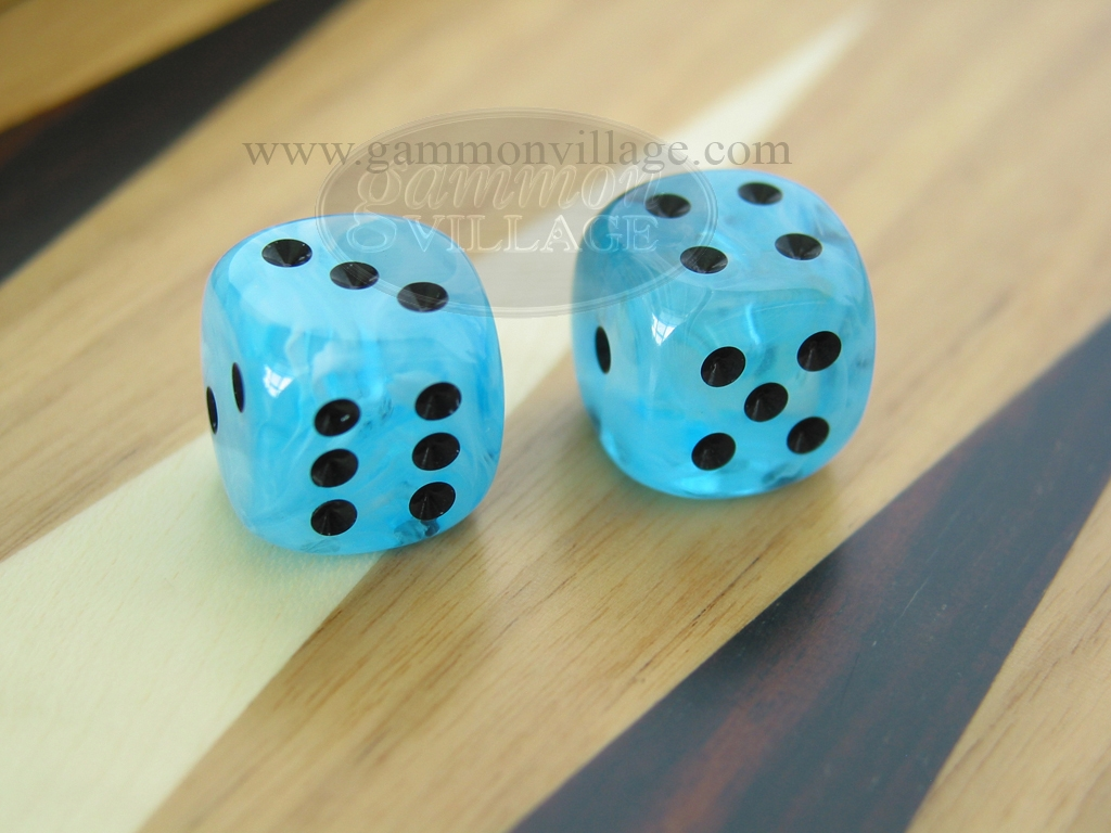 5/8 in. Rounded High Gloss Swoosh Dice - Arctic Blue (1 pair)