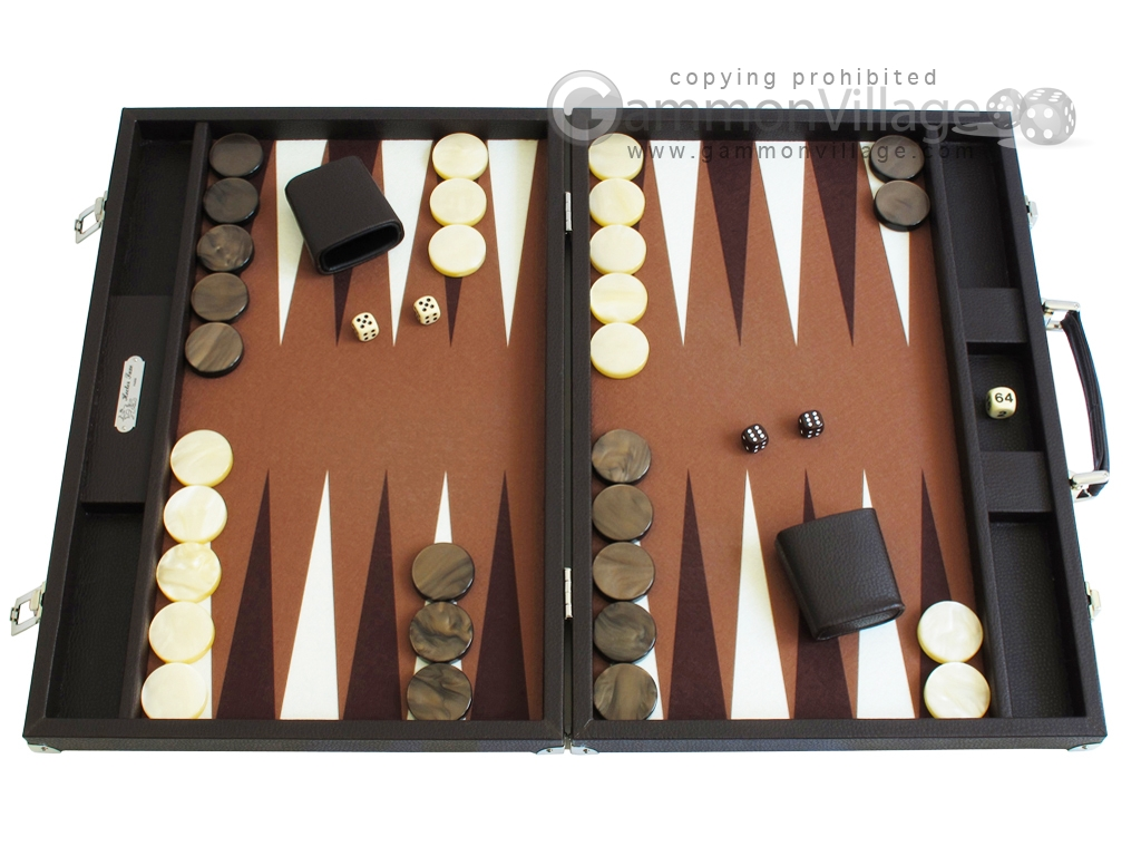 Hector Saxe Leatherette Backgammon Set - Chocolate
