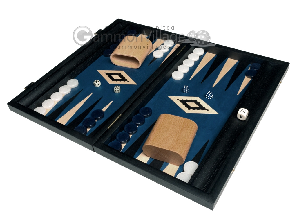 15-inch Black Backgammon Set - Blue Field