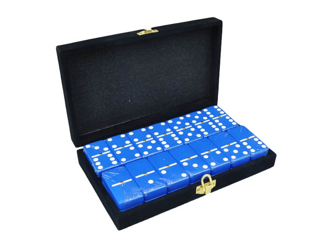DOUBLE 6 Blue Dominoes Set - With Spinners - Velvet Box