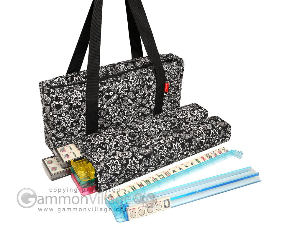 Soft-Sided American Mah Jongg Set by Linda Li™ with Ivory Tiles and Modern Pushers - Black Paisley Soft Bag