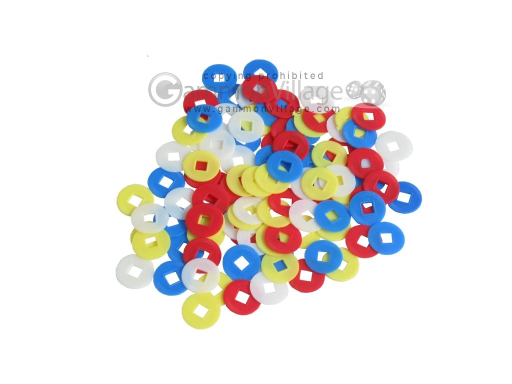 Deluxe Mah Jong Money Chips Bag Of 100 4 Colors Mah