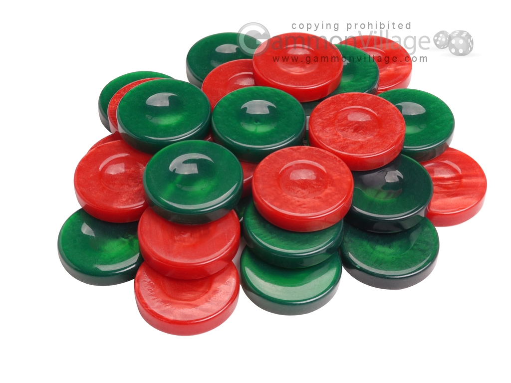 Backgammon Checkers - High Gloss Acrylic - Green & Red (1 1/2in. Dia.) - Set of 30