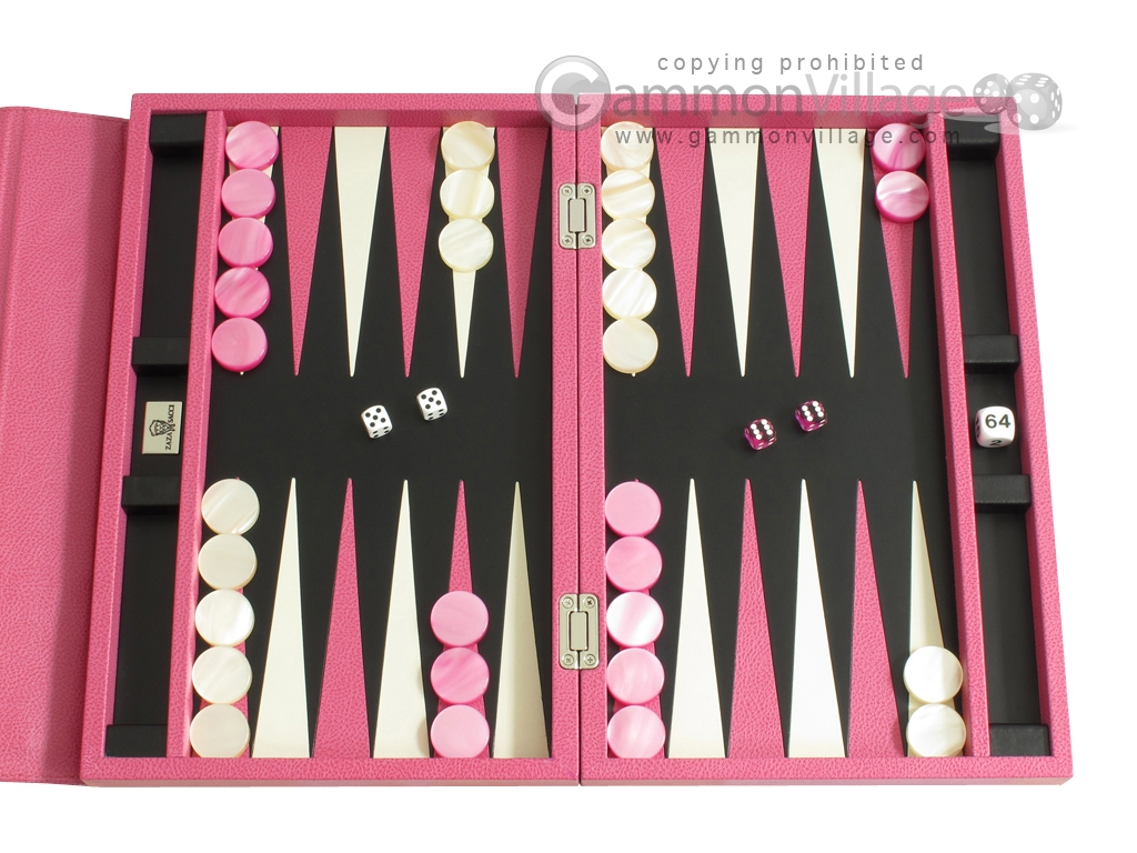 Zaza & Sacci® Leather Backgammon Set - Model ZS-242 - Travel - Pink