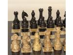 16 in. Black and Coral Marble Chess Set