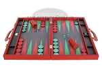 Zaza & Sacci® Leather/Microfiber Backgammon Set - Model ZS-760 - Large - Red