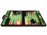 GammonVillage Tournament Backgammon Set - Champion Class - Black Case - Green Field