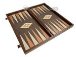 19-inch Wood Backgammon Set - Wenge with Printed Field
