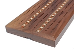 Solid Walnut 3 Track Cribbage Board with Inlay
