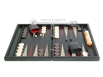 Black Backgammon Set with Racks - Red