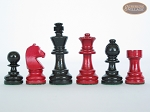 Red and Black Maple Staunton Chessmen with Spanish Mosaic Chess Board
