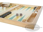 19-inch Wood Backgammon Set - Beechwood (Green/Yellow)
