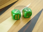 5/8 in. Rounded Wood Dice - Green (1 pair)