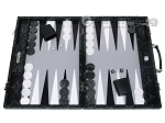 Hector Saxe Python Leather Backgammon Set - Black