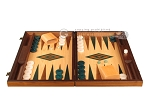 Walnut and Oak Backgammon Set - Large - Green