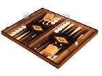 Ebony Zebrano Backgammon Set - Large - Black Field