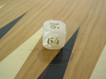 7/8 in. Backgammon Doubling Cube - White Marbleized