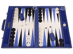 GammonVillage Tournament Backgammon Set - Champion Class - Blue with Off-White Field