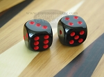 3/8 in. Rounded High Gloss Solid Dice - Black/Red (1 pair)