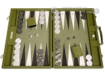 Hector Saxe Epi Leatherette Backgammon Set - Green