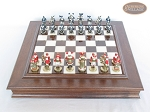 Magnificent Chessmen with Italian Alabaster Chess Board with Storage