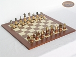 Champion Brass Staunton Chessmen with Spanish Traditional Chess Board [Large]