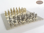 French Heritage Chessmen with Spanish Lacquered Chess Board [Grey]