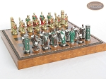 Colored Brass Roman Chessmen with Patterned Italian Leatherette Chess Board with Storage [Brown]
