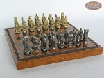Brass Roman Chessmen with Patterned Italian Leatherette Chess Board with Storage [Brown]