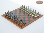 American Civil War Chessmen with Patterned Italian Leatherette Chess Board
