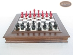 Red and Black Maple Staunton Chessmen with Italian Alabaster Chess Board with Storage