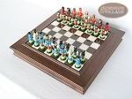 Hungarian Szur Chessmen with Italian Alabaster Chess Board with Storage