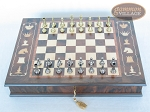 Italian Brass/Silver Staunton Chessmen with Italian Chess Board with Storage