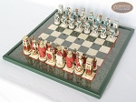 Egyptian Chessmen with Italian Lacquered Chess Board [Green]