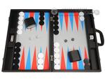 19-inch Premium Backgammon Set - Black with Scarlet Red and Patriot Blue Points