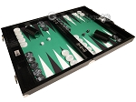 Wycliffe Brothers® Tournament Backgammon Set - Black Croco with Green Field - Gen III