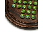 Dark Walnut Stained Wooden Solitaire with Green Glass Marbles - 12 in. (Made in USA)