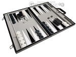 18-inch Leatherette Backgammon Set - Inlaid Velvet Field - Black/Grey