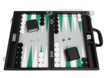 16-inch Premium Backgammon Set - Black with White and Green Points