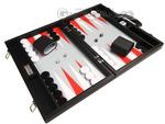 16-inch Premium Backgammon Set - Black with White and Scarlet Red Points