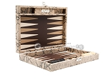 Hector Saxe Python Leather Travel Backgammon Set - Beige