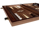 15-inch White Zebrano Backgammon Set - Walnut Field