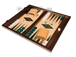 15-inch Walnut and Oak Backgammon Set - Green