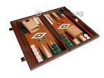 15-inch Mahogany Backgammon Set - Green