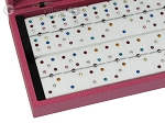 Double 6 Swarovski Colored Crystal Dominoes Set - Pink Leather Case